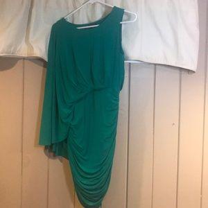 BCBG draping-shoulder dress